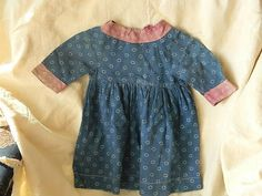 Blue Calico Doll Childs Dress