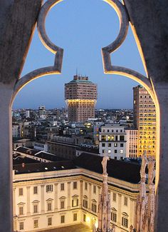 Milano. Night view from the Milan cathedral Terraces over the Torre Velasca. Italy
