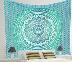 Green Rangoli Ombre Twin Tapestry