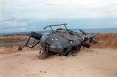 Crashed Huey at LZ Betty, 1969