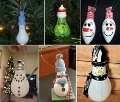 DIY Cute Light Bulb Snowman #ornaments --> http://wonderfuldiy.com/wonderful-diy-easy-lightbulb-ornaments/