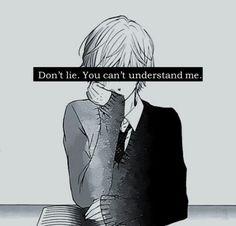Anime boy sad monochrome cool lie
