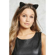 Forever21 Sequin Cat Ear Headband (€2,96) ❤ liked on Polyvore featuring accessories, hair accessories, black, head wrap headbands, cat ear hairband, forever 21, sequin headbands and hair puff accessories