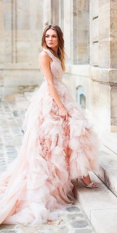 a line wedding dresses with scoop neckline and ruffled skirt augie chang
