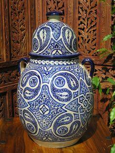 Large Fez antiqued Tagina pot in blue. http://www.maroque.co.uk/showitem.aspx?id=ENT05785&p=00741