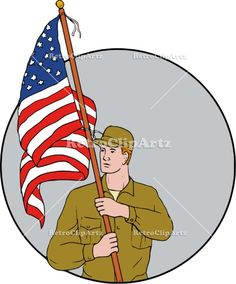 American Soldier Holding USA Flag Circle Drawing Vector Stock Illustration.  Drawing sketch style illustration of an american soldier serviceman looking to the side holding usa flag with pole on shoulder set inside circle on isolated background. #illustration #AmericanSoldier