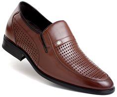 Brown Leather Elevator Sandals Men Shoes 65mm