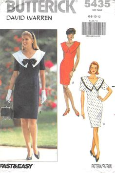 BUTTERICK 5435 - FROM 1991 - UNCUT - MISSES DRESS