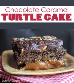 Chocolate Caramel Turtle Cake of Wonder PRINT RECIPE  Time: 20 minutes prep + 45 minutes baking  Yield: 12 servings  Recipe adapted from The Cake Mix Bible  1 Chocolate Cake Mix  1/3 C flour  1 (3.4 ounce) chocolate pudding  4 eggs  1 1/2 C water  1/3 C oil  1/3 C sour cream  1 t vanilla  1 (14 ounce) package of wrapped caramels or 2 1/2 C caramel bits  1/2 C butter 1 (14 ounce) can sweetened condensed milk  1 C pecans, chopped