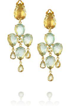 Bounkit 24-karat gold-plated fluorite and quartz clip earrings NET-A-PORTER.COM