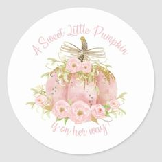 Elegant Pink Pumpkin Baby Shower Girl Classic Round Sticker - - Elegant pink pumpkin baby shower sticker labels, great for party favours, envelopes seals and cupcake toppers. Matching items available in store. (c) The Happy Cat Studio. Baby Shower Thank You, Baby Shower Fall, Girl Shower, Baby Shower Favors, Baby Shower Invitations, Shower Party, Pink Pumpkin Party, Baby In Pumpkin, Little Pumpkin