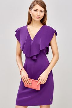 Pedro Del Hierro: The best of the season - Pedro Del Hierro: The best of the season - Purple Outfits, Dress Outfits, Casual Dresses, Short Dresses, Fashion Dresses, Blouse Dress, Peplum Dress, Purple Fashion, Dress Sewing Patterns