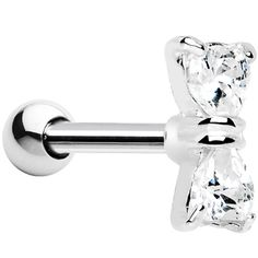 Silver 925 Clear CZ Bow Cartilage Tragus Earring. I would love to get my cartilage done and have this bow earring!