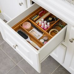 Organize bathroom vanity drawers and separate small items with handy bamboo inserts.