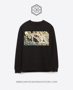 Yokai Samurai Skeleton Sweatshirt // Japanese Horror Fantasy Tale Traditional Nobuhiko Obayashi Junji Ito Suehiro Maruo Garo Trippy Classic - Sellrr