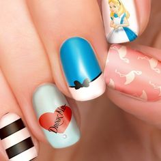 Give Your Manicure the Royal Touch Gem Nails, Nail Gems, Disney Nails, Disney Inspired Nails, Alice In Wonderland Party, Nail Wraps, Nail Stickers, Disney Outfits, Cute Nails