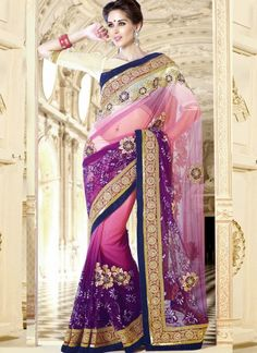 Scintillating Shaded Purple #Net #Saree