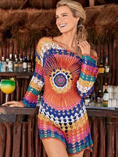 57cadc865142b Colorful Knit Swimwear Beach Bikini Cover Up – boholooks Bikini Cover Up, Swim  Cover,