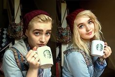 boy girl androgeny androgynous starbucks coffee selfie selfshot pansexual bisexual gay nonbinary pretty handsome fashion hippy hipster style trans genderfluid genderqueer blonde hair male female model illusion followback follow4follow ask