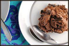 Dark Chocolate Frozen Yogurt - made with Greek yogurt.  I think I need an ice cream maker now!