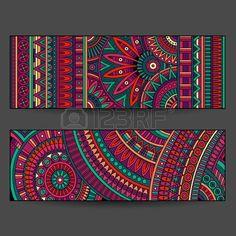 tarjetas de patrones tnicos establecidos Foto de archivo