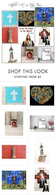 """Religious Art on Etsy by TerryTiles2014 - Volume 370"" by terrytiles2014 ❤ liked on Polyvore featuring interior, interiors, interior design, home, home decor, interior decorating, gift, etsy, art and catholic"