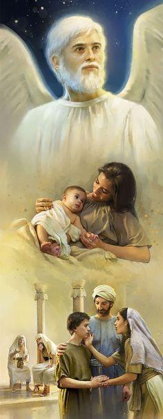 Jesús como niño en la Tierra y luego en un puesto elevado en los cielos.HD.