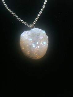 White Druzy Positive Energy Necklace by AngelTouchReiki on Etsy