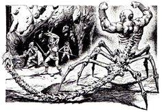 Scorpion-man brings down the house. (Jeff Easley, from ad for Gen Con 18, Dragon magazine No. 100, August 1985; illustration originally appeared in D&D module X4 Master of the Desert Nomads, TSR, 1983.)