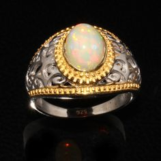 Natural Ethiopian Welo Fire Opal Ring - 925 Sterling Silver Ring  - Opal Jewelry - Opal Cabochon's Ring - Opal Birthstone Ring -Wedding Ring