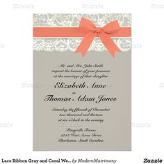 "Lace Ribbon Gray and Coral Wedding Invitation 5"" X 7"" Invitation Card"