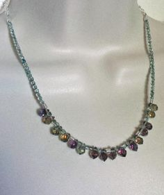 Rainbow of colors in this glass and crystal necklace. Crystal Necklace, Crystal Beads, Crystals, Beaded Necklaces, Affordable Jewelry, Handmade Jewelry, Jewelry Making, Rainbow, Jewels