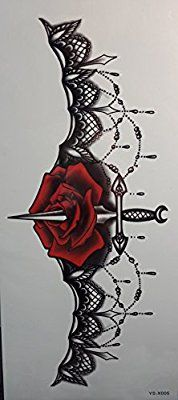 Amazon.com : Spestyle Waterproof and nontoxic Fake temporary tattoo stickers for girls' chest Jewelry design with rose flower and sword : Beauty