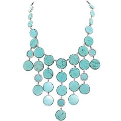 Michael Kors Women's Turquoise Bib Chain Necklace ($237) ❤ liked on Polyvore…