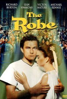 The Robe (1953).  Richard Burton, Jean Simmons and Victor Mature portray a traditional fiction about jesus' robe.  Written by Lloyd C. Douglas, an ordained Lutheran minister.