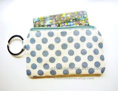 key ring zipper change wallet  coin purse  Grey Dots by https://www.etsy.com/sg-en/shop/AlmondTree, #purse, #coinpurse, #cardholder, #womenwallet#keyringpurse #purse #handmade