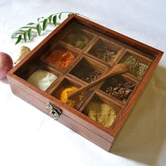 Spice Box - Sheesham wood Spice Box Container - Spice Box Holder with free Gift SPECTRAHUT http://www.amazon.in/dp/B00K0I7R3K/ref=cm_sw_r_pi_dp_eVMvwb1MZQ1RM