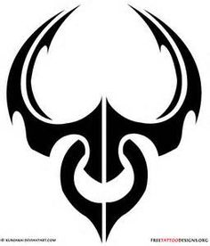 Awesome Black Tribal Taurus Tattoo Design