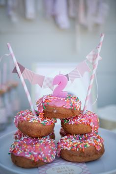 Doing a morning birthday party? Forgo the traditional birthday cake and make a donut tower with a candle! #kidsparty