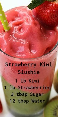 Kiwi Slushie Strawberry Kiwi Slushie ~ Super refreshing and filled with tons of flavor. Makes for a perfect warm weather treat.Strawberry Kiwi Slushie ~ Super refreshing and filled with tons of flavor. Makes for a perfect warm weather treat. Fruit Smoothie Recipes, Yummy Smoothies, Smoothie Drinks, Yummy Drinks, Healthy Drinks, Healthy Recipes, Refreshing Drinks, Nutrition Drinks, Protein Smoothies