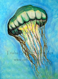 Art Print Open Edition Jelly Fish Green by ArtInSoulorg on Etsy