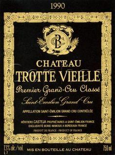 Asset Details Wine label of Château Trottevieille St Emilion, Vintage Wine, Italian Wine, Wine Labels, Whisky, Farming, Bordeaux, Decoupage, Transportation