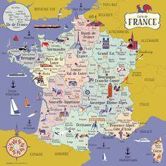 Carte de France Nouvelles régions par Cartographik sur Etsy