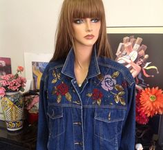 Carole Little Floral Beaded Blue Jeans Denim Jacket Size 10 Designer Fashion  | eBay