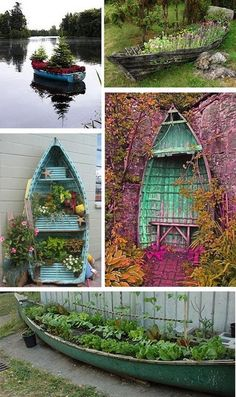12 Creative And Highly Unique Recycling Projects… – Recycled projects Recycling Containers, Container Gardening, Indoor Garden, Outdoor Gardens, Seaside Garden, Pot Jardin, Old Boats, Garden Whimsy, Beach Gardens