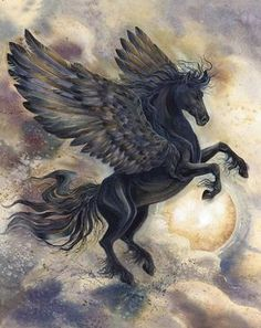Pegasus - Bergsma Gallery Press :: Paintings :: New Images 2015 :: 'Night Wind' - Prints Mythical Creatures Art, Mythological Creatures, Magical Creatures, Pegasus Tattoo, Unicorn Pictures, Winged Horse, Unicorn Art, Black Unicorn, Horse Drawings