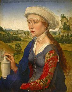 "Rogier van der Weyden (1399/1400-1464):  Braque Family Triptych, 1452, oil on panel, 1'4"" x 4'2"" - The Louvre."