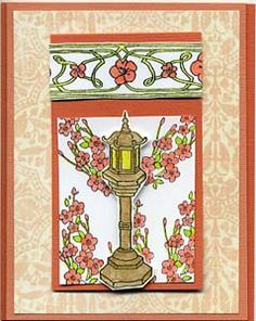 Asian Lamp Post Card, Stamps, & DIY Directions from GreatImpressionsStamps.com