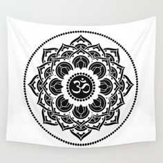 Black and White Mandala Energy Symbols, Society 6 Tapestry, Flower Mandala, Flower Of Life, Art Object, Yin Yang, Wall Tapestry, Vivid Colors, Hand Sewing
