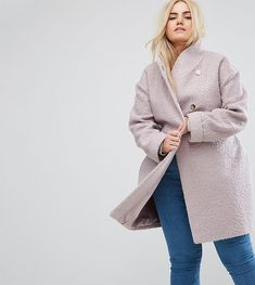 bc12b521e87 ASOS CURVE Textured Throw on Coat - Pink Plus Size Womens Clothing